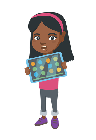 Illustration for African girl playing game on a tablet computer. Girl showing a tablet computer with a game on a screen. Girl using a tablet computer. - Royalty Free Image