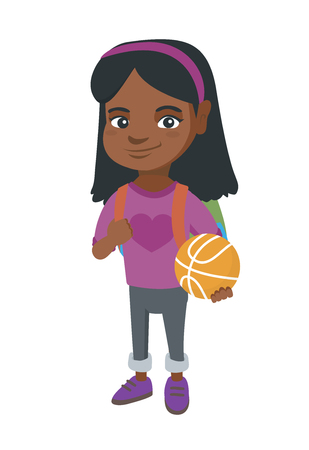 Illustration for Young african cheerful schoolgirl with backpack holding a basketball ball. - Royalty Free Image