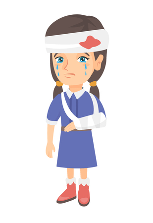 Illustration for Caucasian injured girl with broken arm and bandaged head. Crying little girl having head and arm injury. Vector sketch cartoon illustration isolated on white background. - Royalty Free Image