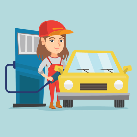Illustration pour Young caucasian friendly worker of gas station refueling a car. Woman in workwear pumping gasoline fuel in car at gas station. Vector cartoon illustration. Square layout. - image libre de droit