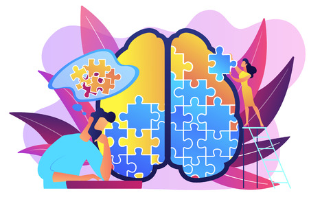 Illustration pour Man doing human brain puzzle. Psychology and psychotherapy session, mental healing and wellbeing, therapist counselling mental illness and difficulties violet palette. Vector isolated illustration. - image libre de droit