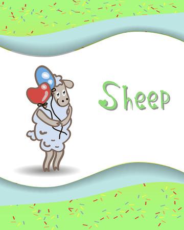 Alphabet animals sheep with balloons