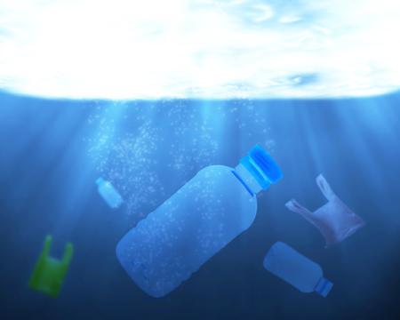 Foto de Pollution problem in the water concept, plastic bag and bottle rubbish in the environment - Imagen libre de derechos