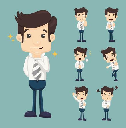 Illustration pour Set of businessman characters poses - image libre de droit