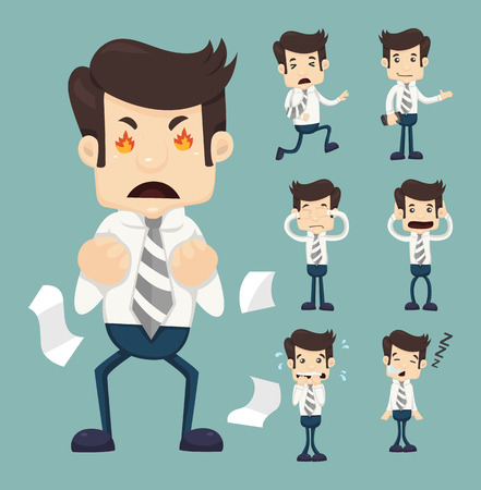 Illustration for Set of businessman characters poses  - Royalty Free Image