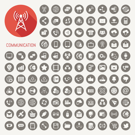 Photo pour Communication icons with black background , eps10 vector format - image libre de droit