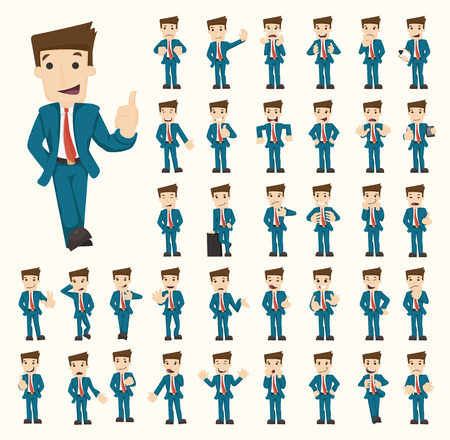 Illustration pour Set of businessman characters poses  - image libre de droit