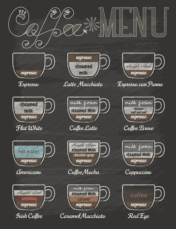 Ilustración de Set of coffee menu in vintage style with chalkboard  - Imagen libre de derechos