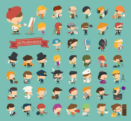 Illustration pour Set of 50 professions  - image libre de droit