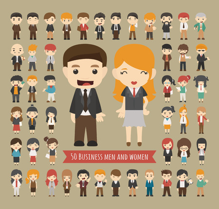 Ilustración de Set of 50 business men and women , eps10 vector format - Imagen libre de derechos