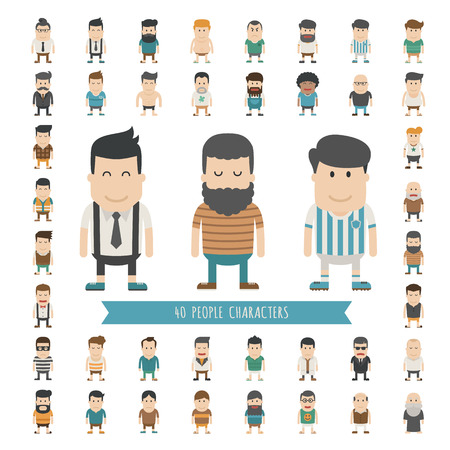 Illustration for Set of 40 people characters , eps10 vector format - Royalty Free Image