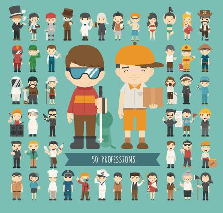 Ilustración de Set of 50 professions , eps10 vector format - Imagen libre de derechos