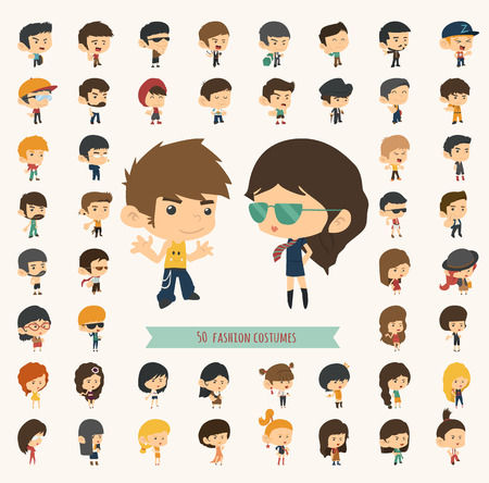 Illustration for Set of 50 young people with hipster fashion style , eps10 vector format - Royalty Free Image