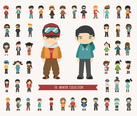 Ilustración de Set of winter collection character , eps10 vector format - Imagen libre de derechos