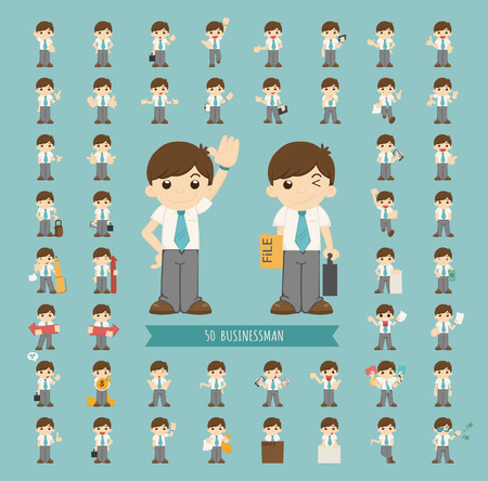 Illustration pour Set of businessman character  - image libre de droit