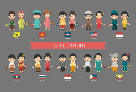 Illustration pour Set of asian men and women in traditional costume with flag - image libre de droit