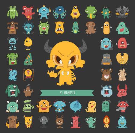 Illustration for Set of monster characters poses - Royalty Free Image