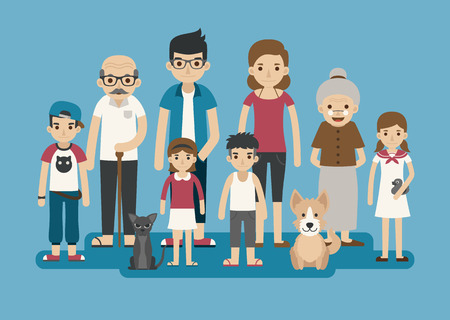 Foto per Set of big happy family character , eps10 vector format - Immagine Royalty Free
