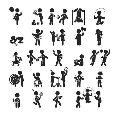 Illustration pour Set of children activities play and learn ,Human pictogram Icons ,  vector format - image libre de droit