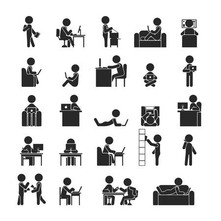 Illustration pour Set of businessman working , Human pictogram Icons ,  vector format - image libre de droit