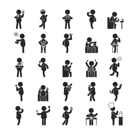 Illustrazione per Set of fat man activities , Human pictogram Icons , eps10 vector format - Immagini Royalty Free