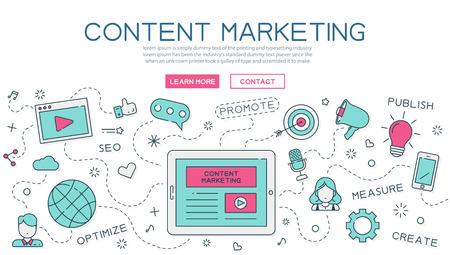 Illustration pour Content, marketing for website banner and landing page - image libre de droit