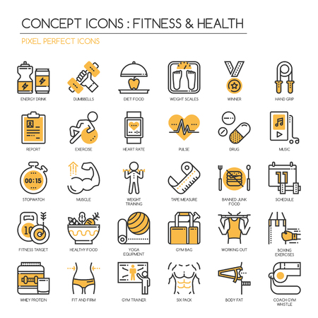 Ilustración de Fitness & Health , thin line icons set ,pixel perfect icon - Imagen libre de derechos