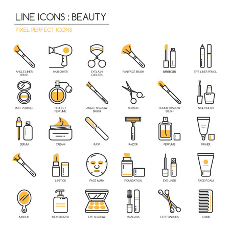 Illustration pour Beauty , thin line icons set ,pixel perfect icon - image libre de droit