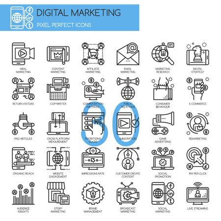 Illustration pour Digital marketing , Thin Line Icons Set , Pixel Perfect Icons - image libre de droit
