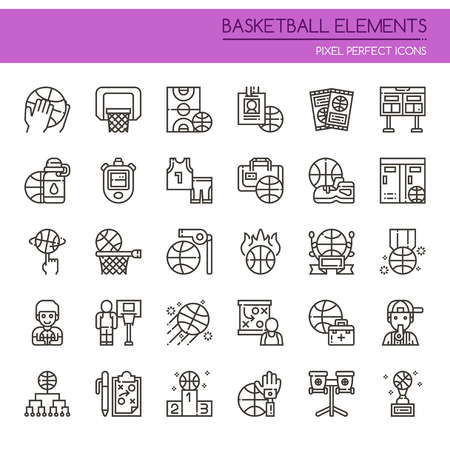 Ilustración de Basketball Element , Thin Line and Pixel Perfect Icons - Imagen libre de derechos