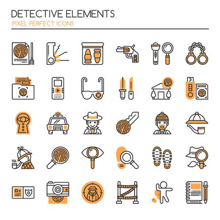 Ilustración de Detective Elements , Thin Line and Pixel Perfect Icons. - Imagen libre de derechos