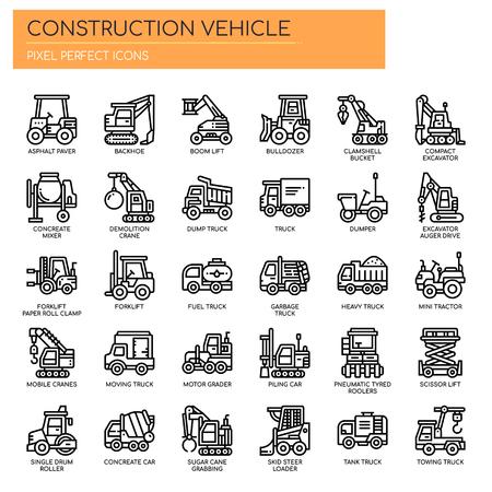 Illustration pour Construction Vehicle , Thin Line and Pixel Perfect Icons - image libre de droit