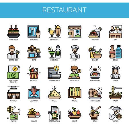 Ilustración de Restaurant Elements , Thin Line and Pixel Perfect Icons - Imagen libre de derechos