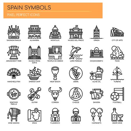 Ilustración de Spain Symbols , Thin Line and Pixel Perfect Icons - Imagen libre de derechos