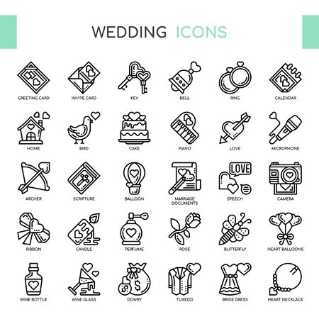 Illustration pour Wedding , Thin Line and Pixel Perfect Icons - image libre de droit