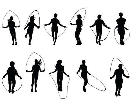 Illustration for Black silhouettes of  jumping rope, vector - Royalty Free Image
