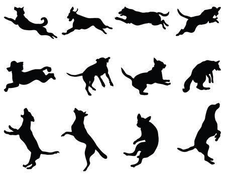 Illustration for Black silhouettes of jumping dogs, vector - Royalty Free Image