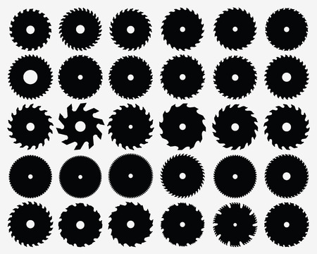 Illustration pour Set of different circular saw blades, vector - image libre de droit