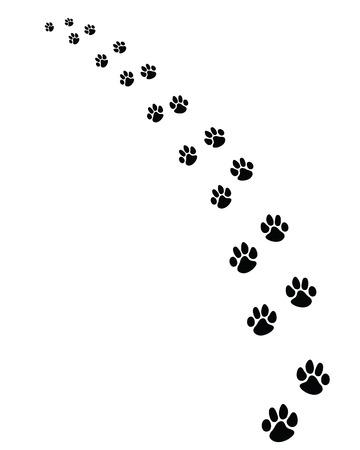 Black footprints of dogs, turn left-vector illustration