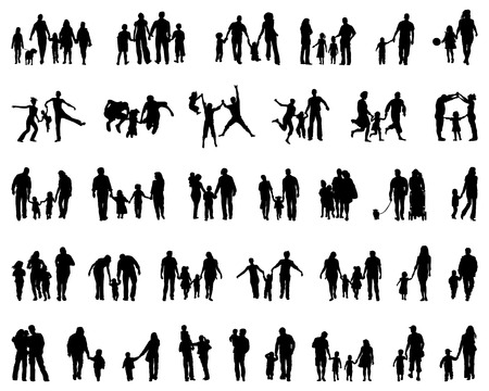 Photo pour Big set of black silhouettes of families, vector - image libre de droit