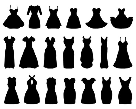 Illustration for Silhouettes of different cocktail dresses, vector illustration - Royalty Free Image