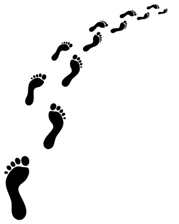 Ilustración de Trail of human bare footsteps, turn right - Imagen libre de derechos