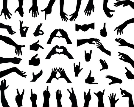 Illustration for Silhouettes of hands, vector - Royalty Free Image