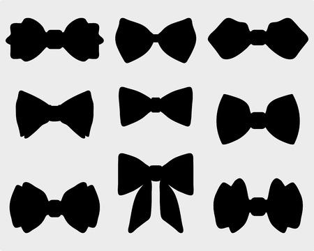 Illustration pour Black silhouettes of bow ties - image libre de droit