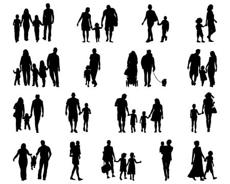 Illustration pour Black silhouettes of families in walk, vector - image libre de droit