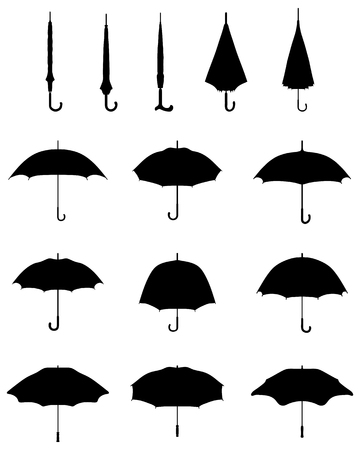 Illustration for Black silhouettes of open and closed umbrellas, vector - Royalty Free Image