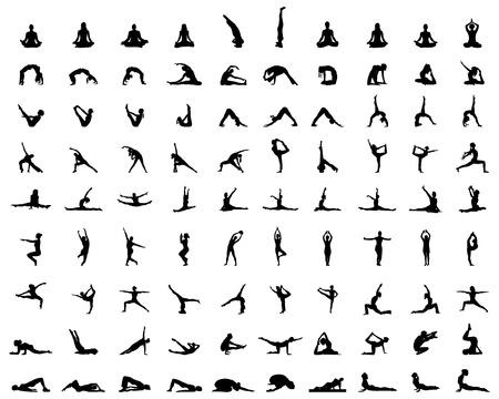 Illustration pour Black silhouettes of yoga and fitness, vector - image libre de droit