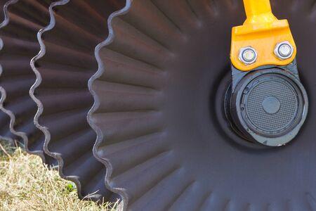 Photo pour Black part and detail of agricultural disk harrow - image libre de droit