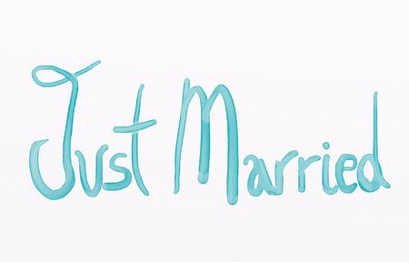 Foto de Just married message - Imagen libre de derechos