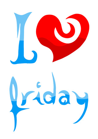 Ilustración de I love Friday message Vector illustration. - Imagen libre de derechos